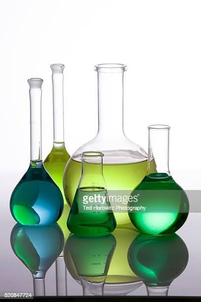 Still life of laboratory glassware.