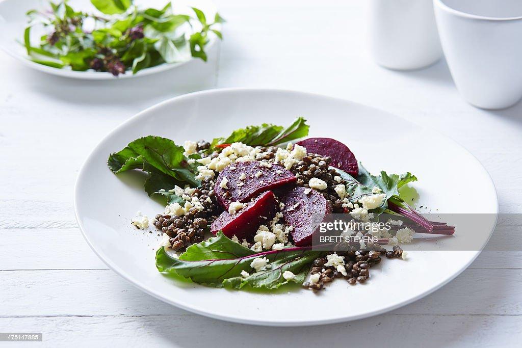 Still life of lentil, beetroot and feta salad : Stock Photo