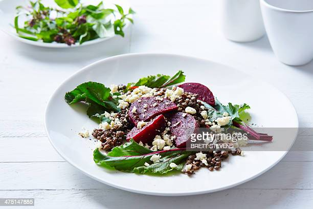 Still life of lentil, beetroot and feta salad