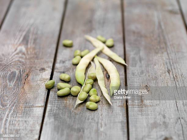 Still life of lima Beans (also known as butter beans) on wooden table
