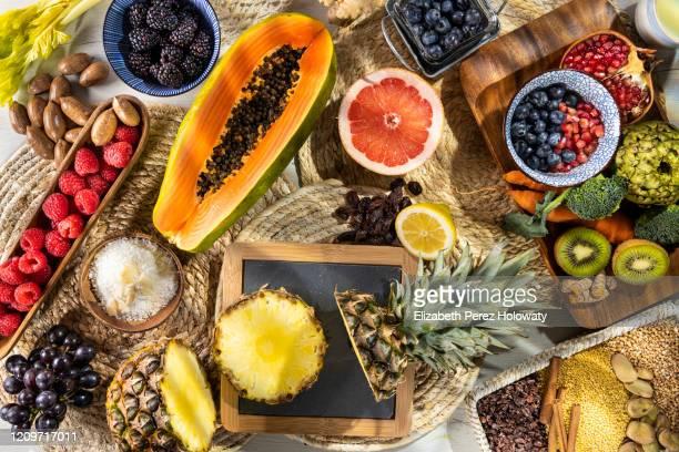 still life of natural fruits - トロピカルフルーツ ストックフォトと画像