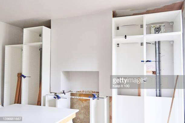 still life of new kitchen units - kitchen stock pictures, royalty-free photos & images