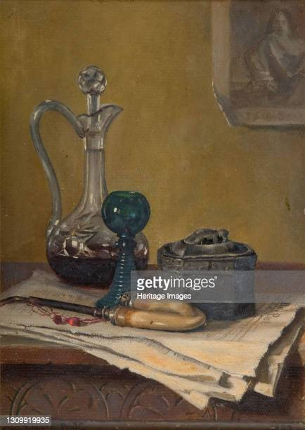 Still Life Of Newspaper, Pipe, Decanter And Jar, 1887. Artist Claude Pratt. .