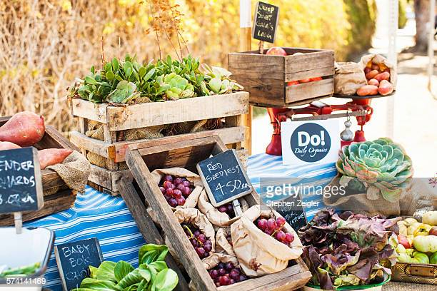 still life of organic produce stand