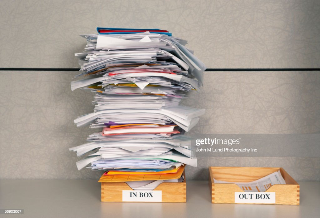 Still life of paper stack in office : Stock Photo