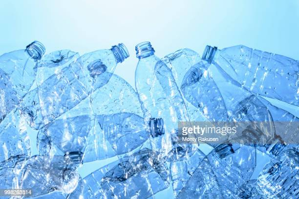 still life of plastic bottles, source of pollution - plastic stockfoto's en -beelden
