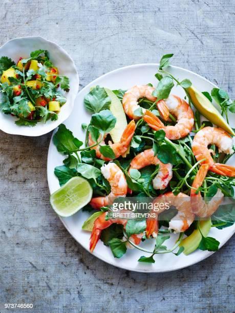 still life of plate with mango coriander salsa prawn, overhead view - 車海老料理 ストックフォトと画像