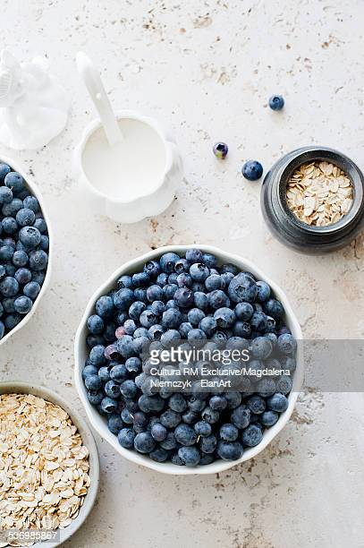 Still life of porridge oats and blueberries