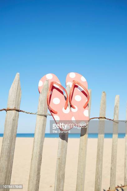 still life of red flip-flops hanging from a wooden fence at the beach against sea and blue sky - sandal stock pictures, royalty-free photos & images