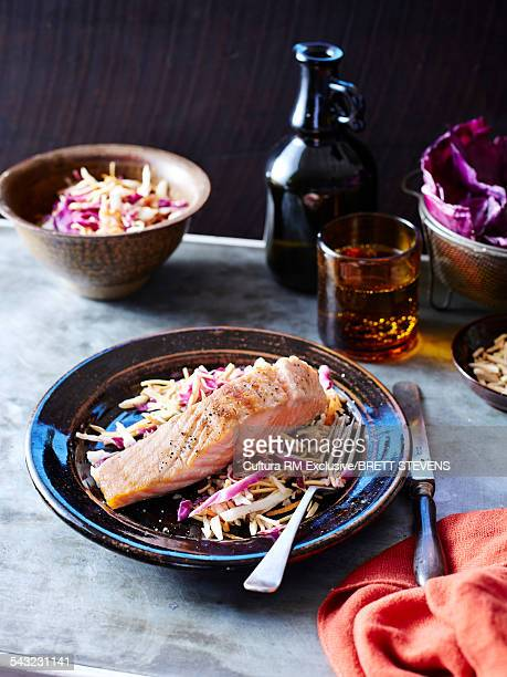 Still life of salmon and coleslaw