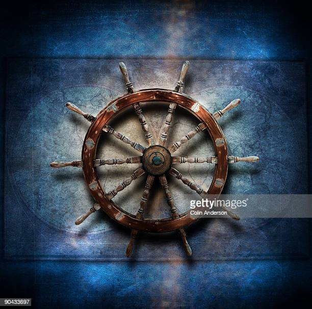 Still life of ships wheel