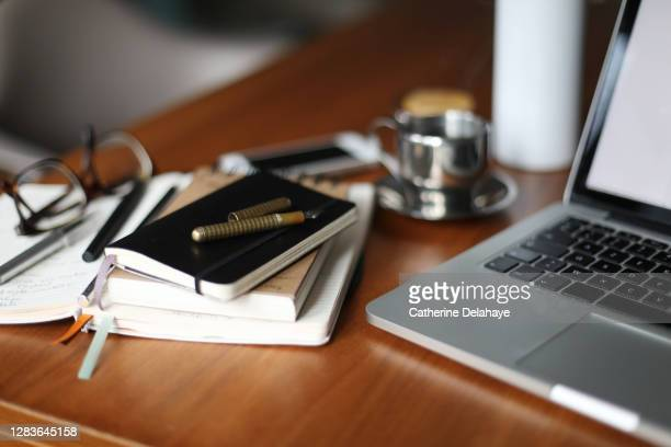 still life of things needed for working at home - personal accessory stock pictures, royalty-free photos & images
