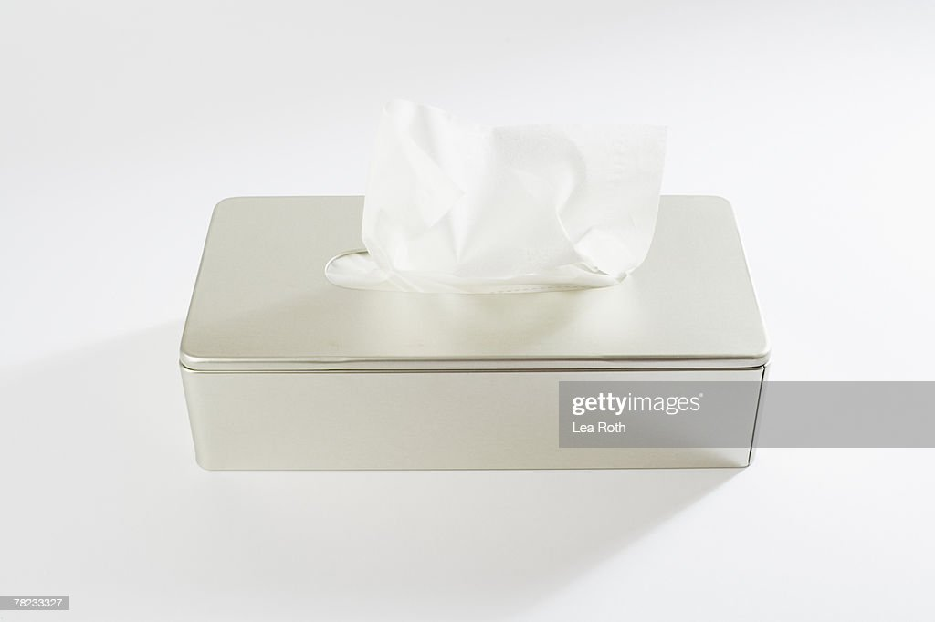 still life of tissue in silver box : Foto de stock