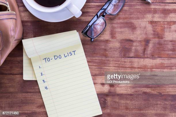 "still life of """"to do list"""" and other belongings - to do list stock pictures, royalty-free photos & images"