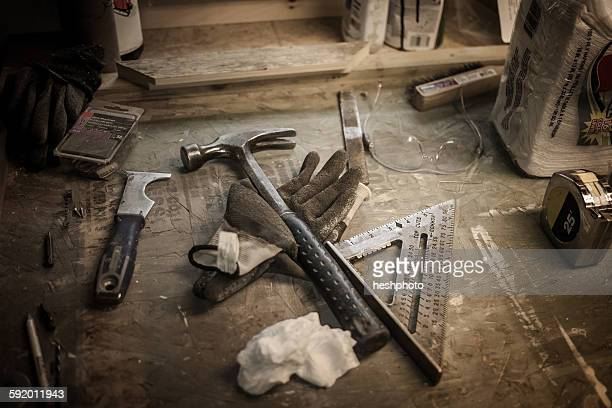 still life of tools in artists workshop - heshphoto stock pictures, royalty-free photos & images