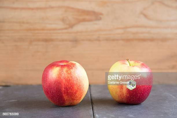 Still life of two apples - one with bio label