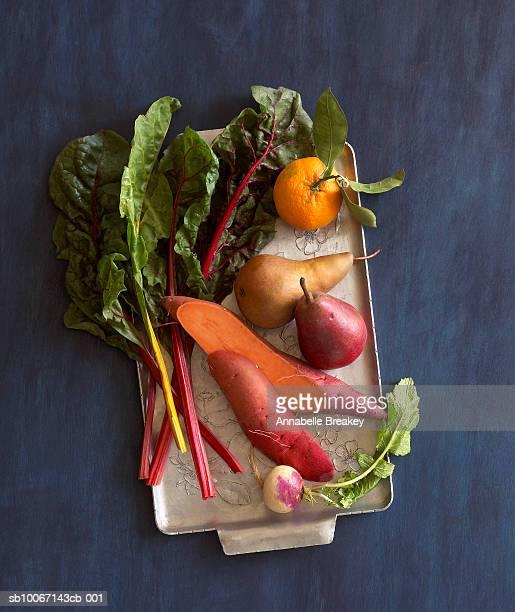 Still life of vegetables on tray