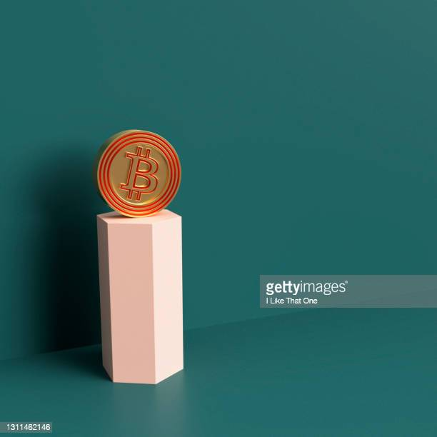 still life set with geometric objects interacting with a bitcoin icon - atomic imagery stock pictures, royalty-free photos & images