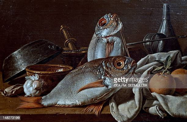 Still life showing fishes and kitchen utensils by Luis Melendez Madrid Museo Del Prado