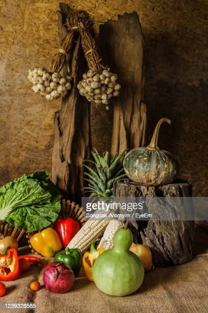 still life vegetables, herbs and fruits as ingredients in cooking. - fruit exotique photos et images de collection