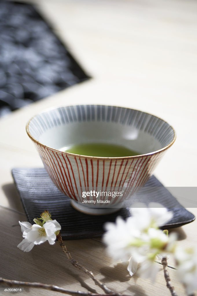 Still Life With a Bowl, Plate and Cherry Blossom : Stock Photo
