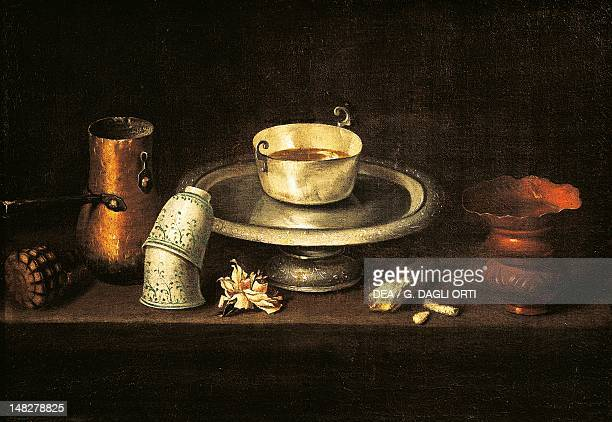 Still life with a cup of chocolate or Breakfast with chocolate by Juan de Zurbaran , oil on canvas, 74x52 cm. ; Besançon, Musée Des Beaux-Art Et...