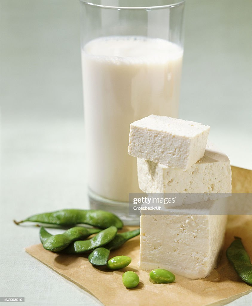 Still Life With a Glass of Milk, Feta Cheese and Beans : Stock Photo
