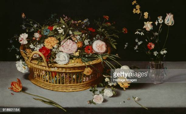 Still Life with Basket and Vase of Flowers' c1620 Painting on display at Audley End House Saffron Walden Essex Artist Jan Breughel the Younger