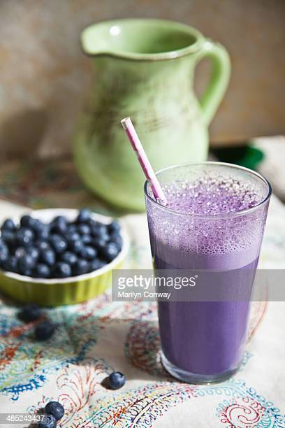 Still life with blueberries and smoothie