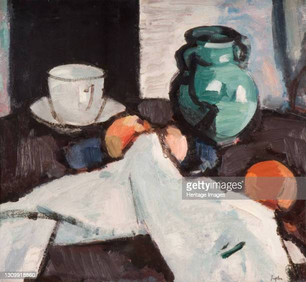 Still Life with Bowl of Fruit, Jug, Cup and Saucer, 1927-29. Artist Samuel John Peploe. .