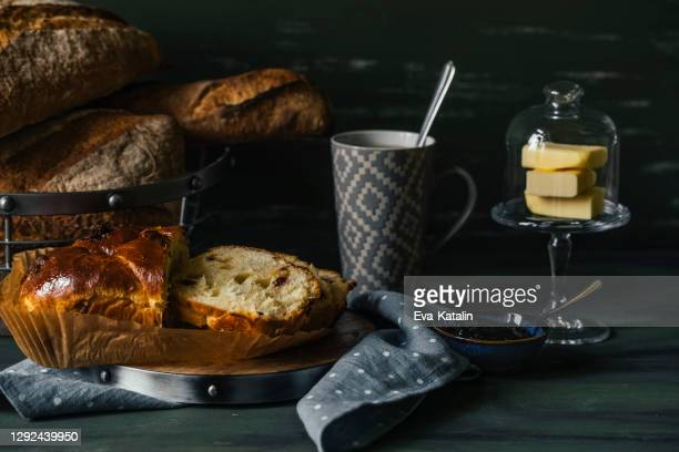 still life with breakfast - easter cake stock pictures, royalty-free photos & images