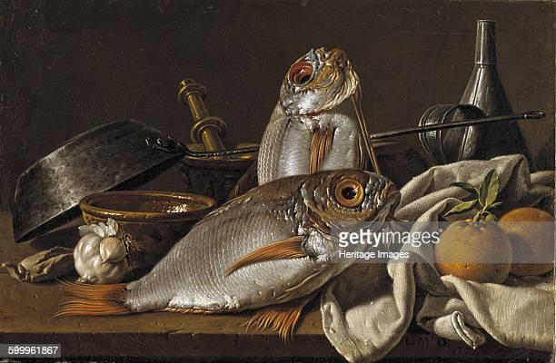 Still Life With Bream Oranges Garlic and Kitchen Utensils 1772 Found in the collection of Museo del Prado Madrid Artist Meléndez Luis Egidio