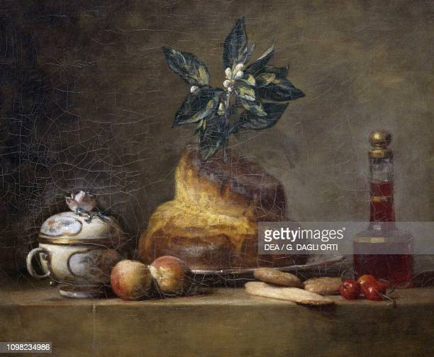 Still life with brioche by Jean Baptiste Simeon Chardin oil on canvas