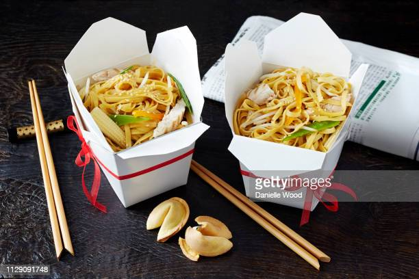 still life with chinese noodles in takeaway boxes, asian takeaway food - chinese takeout stock pictures, royalty-free photos & images