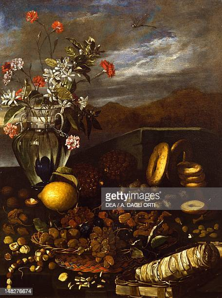 Still life with dried fruit flowers and landscape by Luca Forte