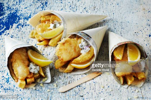 Still life with fish and chips in cones