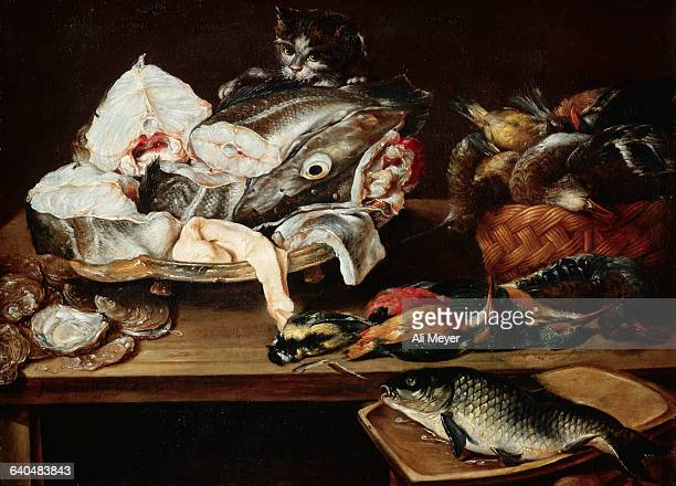 Still Life with Fish Oysters Birds and Cat by Alexander Adriaenssen