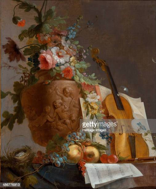 Still life with flowers and a violin c 1750 Artist Bachelier JeanJacques