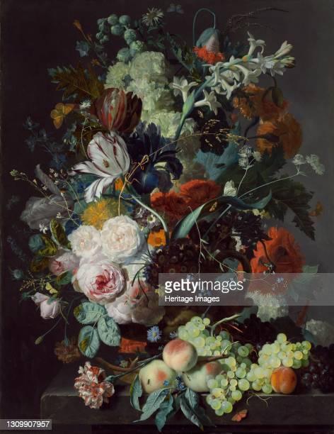 Still Life with Flowers and Fruit, circa 1715. Artist Jan van Huysum. .
