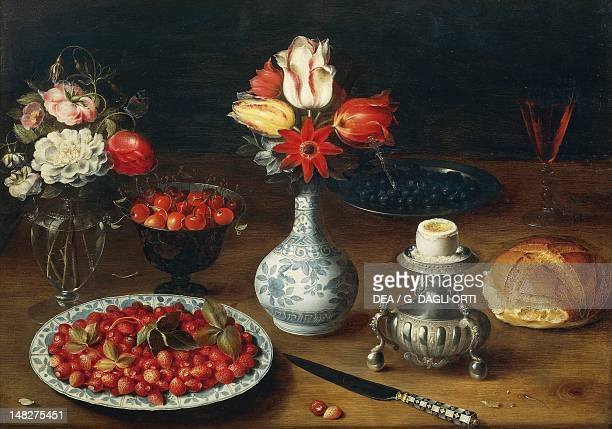 Still life with flowers fruits vases and other objects by Osias Beert oil on panel Grenoble Musée De Grenoble