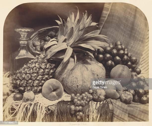 [Still Life with Fruit and Decanter]; Roger Fenton. English. 1819 - 1869; London. England. Europe; 1860; Albumen silver print; Image: 35.4 x 43.2 cm .