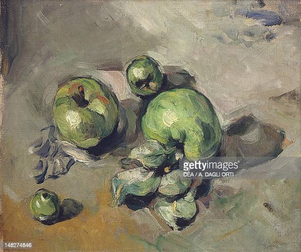 Still life with green apples ca 1873 by Paul Cezanne oil on canvas 26x32 cm Paris Musée D'Orsay