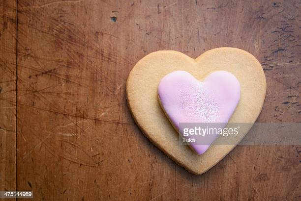 Still life with heart shaped cookie