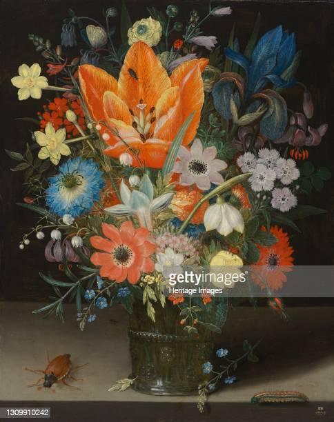 Still Life with Iris, 1623. Artist Peter Binoit. .