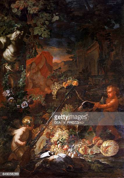 Still life with little genies by Onofrio Loth oil on canvas 172x247 cm Rome Galleria Spada