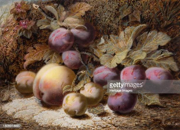 Still Life With Peach And Plums, 1916. Artist Oliver Clare. .