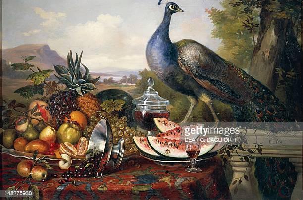 Still life with peacock 19th century by Luis Portu Detail Queretaro Museo Regional De Queretaro