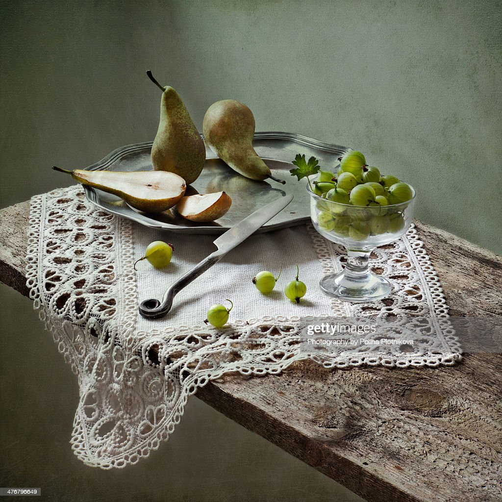 Still life with pears and gooseberries : Stock Photo