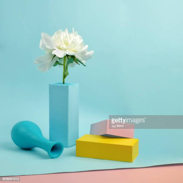 still life with peony and blocks