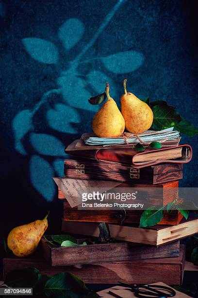 Still life with poetry of the fall (with pears)